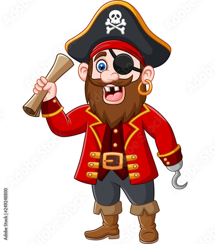 Cartoon Pirate captain holding a treasure map Canvas Print