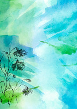 Watercolor Bouquet Of Blue, Green Flowers, Beautiful Abstract Splash Of Paint, Fashion Illustration. Knapweed Flowers, Wildflowers, Field Or Garden Flowers. Vintage Card. Grunge Art Background.