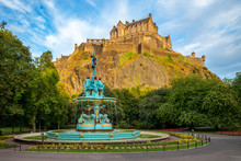 Edinburgh Castle And Ross Fountain In Scotland