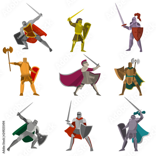 Fotografia Set of color knights in different poses hand axes, foils, swofds on white backgr
