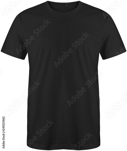 Foto  Blank plain t shirt black color isolated on white background, ready for mock up