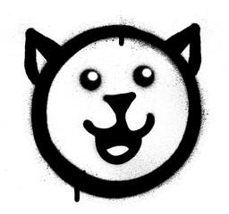graffiti happy cat sprayed in black over white