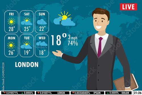 Fotografía European male news anchor tells weather forecast on tv