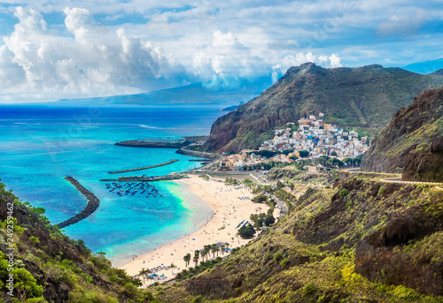 Landscape with Las Teresitas beach and San Andres village, Tenerife, Canary Isla Canvas Print
