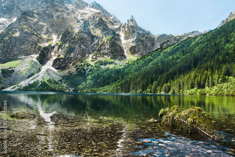 Fototapety, obrazy: piękny górski krajobraz, staw