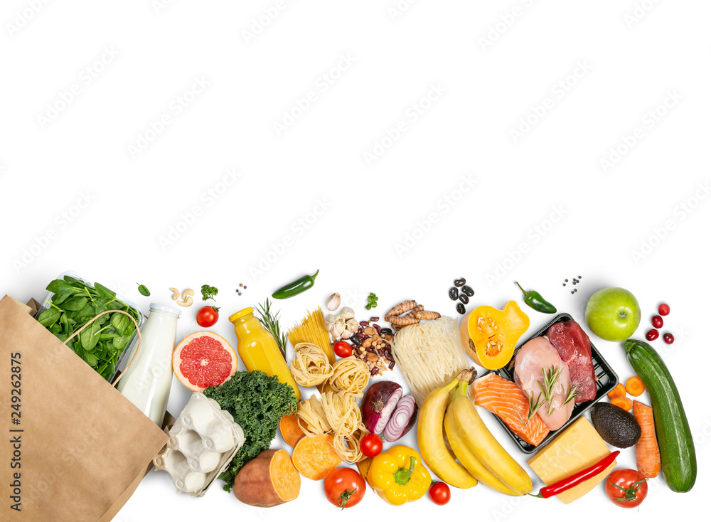 Fototapety, obrazy: Grocery shopping concept - meat, fish, fruits and vegetables with shopping bag, top view