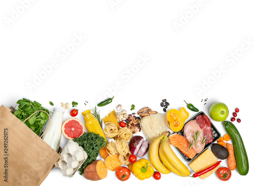 Pinturas sobre lienzo  Grocery shopping concept - meat, fish, fruits and vegetables with shopping bag,