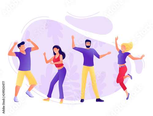 Fototapety, obrazy: Dancing people - Young men and women have fun together. Corporate party, festival, holidays, carnival. Studio or dance school. Flat concept vector illustration for web, landing page, banner