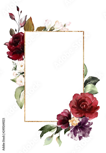 Card Watercolor Invitation Design With Burgundy And Red