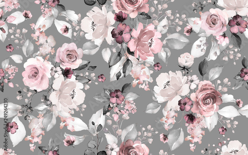 Fotobehang Vintage Bloemen Seamless pattern with flowers and leaves. Hand drawn background. floral pattern for wallpaper or fabric. Flower rose. Botanic Tile.