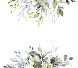 Fototapetabotanical design. herbal banners on white background for wedding invitation, business products. web banner with leaves, herbs