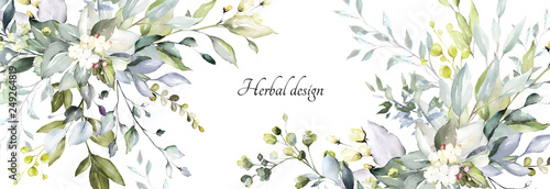 Keuken foto achterwand Bloemenwinkel botanical design. horizontal herbal banners on white background for wedding invitation, business products. web banner with leaves, herbs