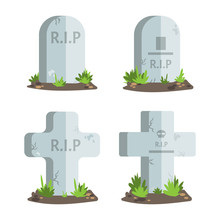 Set Of Halloween Tombstones With R.I.P Text.