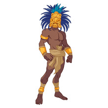 Ancient Mayan Warrior Wearing An Amazing Golden Mask With Blue Feathers