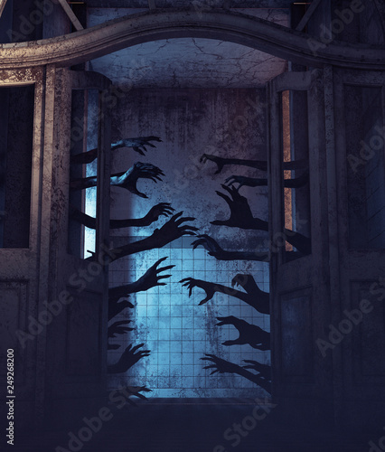 House of a thousand hands,Undead hands behind the doors in a haunted house,3d re Wallpaper Mural