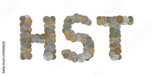 Fotografie, Tablou  HST word with stack of coins on white background