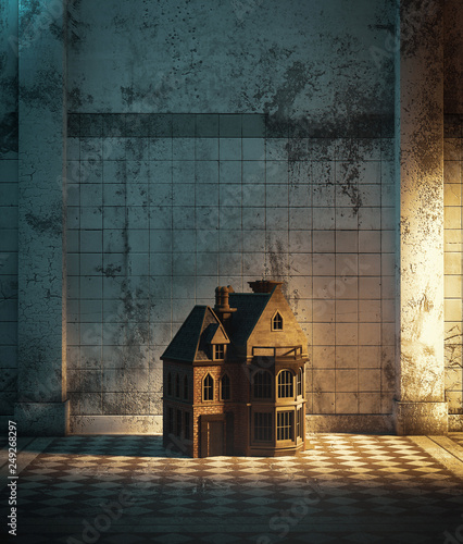 Photo  Dollhouse in haunted hallway,3d illustration for book cover