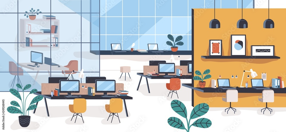 Fototapeta Modern office or open space with desks, computers, chairs. Comfortable co-working area or shared workplace full of stylish furniture and interior decorations. Colorful flat vector illustration.