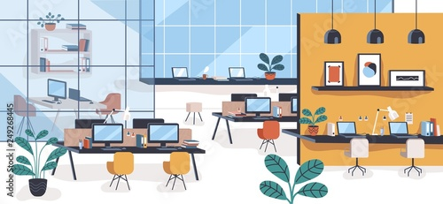 Fototapeta Modern office or open space with desks, computers, chairs. Comfortable co-working area or shared workplace full of stylish furniture and interior decorations. Colorful flat vector illustration. obraz