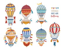 Collection Of Vintage Hot Air Balloons Of Different Texture And Color Isolated On White Background. Bundle Of Retro Manned Flying Aircrafts Decorated With Flags. Vector Illustration In Flat Style.
