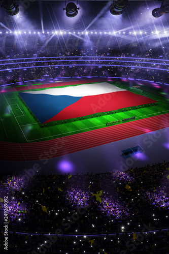 Fotografie, Obraz  people hold Czech Republic flag in stadium arena