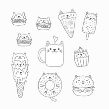 Set Of Kawaii Doodles Of Foods With Cat Ears, Macarons, Pizza, Burger, Ice Cream, Donut, Coffee. Isolated Objects. Hand Drawn Vector Illustration. Line Drawing. Design Concept Coloring Pages For Kids.