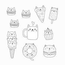 Set Of Kawaii Doodles Of Foods...