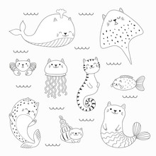 Set Of Kawaii Doodles Of Sea A...