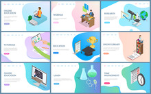 Online Education And Webinar Vector, Research And Time Management. Library And Tutorials On Web Pages, Laptop And Computer, Digital Technology And Science. Website Template Landing Page In Flat