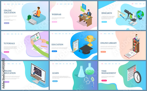 Fotografía  Online education and webinar vector, research and time management