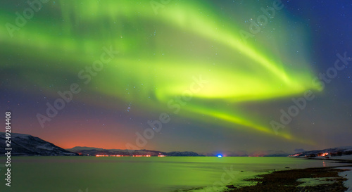 Aluminium Prints Violet Northern lights in the sky over Tromso, Norway