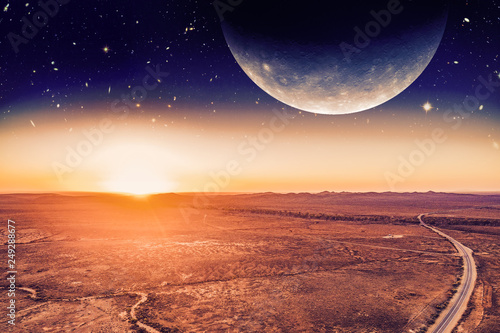 Door stickers Orange Glow Unreal alien panoramic landscape - planet rising over desert and road at sunrise. Elements of this image are furnished by NASA