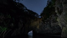8K Astro Timelapse Tracking Night To Day Of Sea Cave In Japan