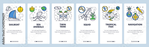 Fototapeta Web site onboarding screens. Sea Travel and beach vacation. Scuba diving and underwater animals. Menu vector banner template for website and mobile app development. Modern design flat illustration. obraz
