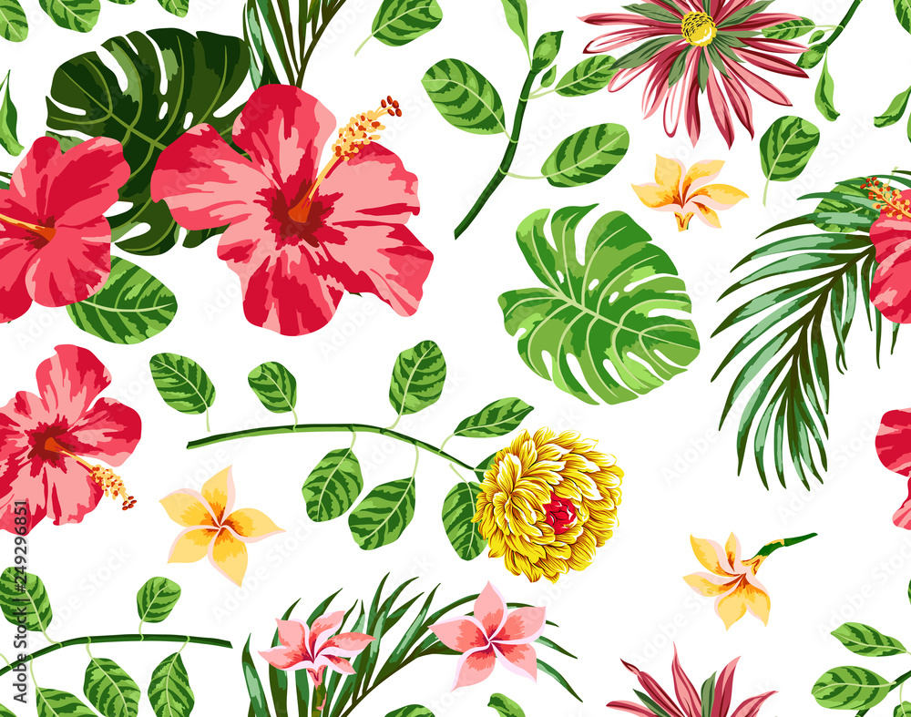 Tropical flowers pattern hibiscus with palm leaf