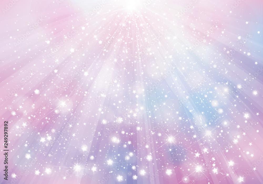 Wektor fioletowe musujące tło z promieni, świateł i gwiazd.