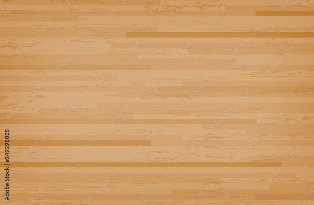 Fototapeta Hardwood maple basketball court floor viewed from above. Wooden floor pattern and texture. Vector.