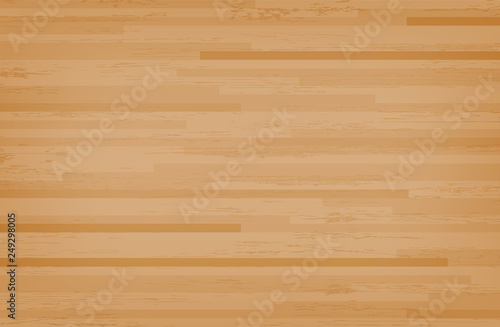Fototapeta Hardwood maple basketball court floor viewed from above. Wooden floor pattern and texture. Vector. obraz