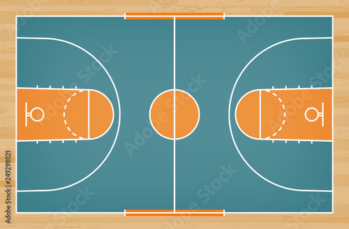 Fototapety, obrazy: Basketball court floor with line on wood pattern texture background. Basketball field. Vector.
