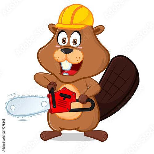 Fotobehang Beren Beaver wearing helmet carrying chainsaw