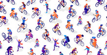 Vector Seamless Pattern. Cyclists Und Runners. A Woman On A Bicycle, A Man On A Bicycle, A Child On A Bicycle. People Cycling And Running. Running Girls And Women. Isometric 3d