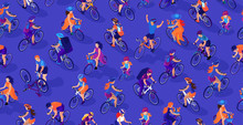 Cyclists On A Blue Background....