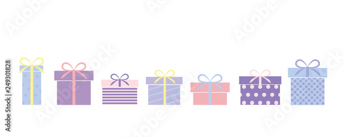 Fotomural set of bright colorful gifts present for birthday and christmas vector illustrat