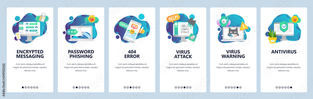 Fototapeta Web site onboarding screens. Cyber security, virus attack and phishing. Antivirus and encrypted messaging. Menu vector banner template for website and mobile app development. design flat illustration.