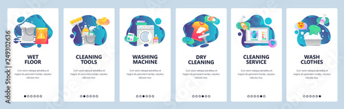 Fototapeta Web site onboarding screens. Cleaning, floor, washing clothes and dry laundry. Menu vector banner template for website and mobile app development. Modern design flat illustration. obraz