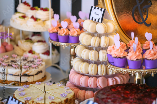 Door stickers Macarons Luxury candy bar with delicious sweets