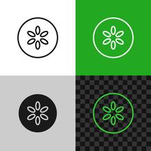 Cucumber Slice Icon. Line Style Cucumber Symbol.