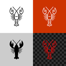 Lobster Icon. Simple Line Lobs...