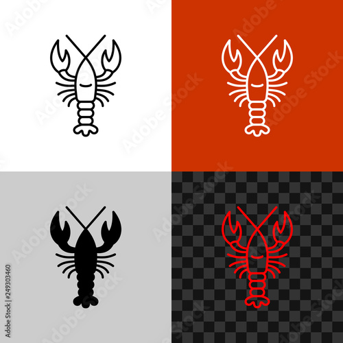 Fototapeta Lobster icon. Simple line lobster or crayfish.