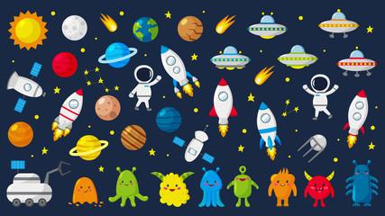 Veliki set slatkih astronauta u svemiru, planeta, zvijezda, vanzemaljaca, raketa, NLO-a, sazviježđa, satelita, mjesečevog rovera. Vektorska ilustracija.